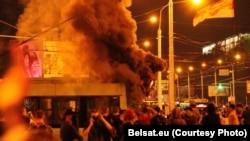بيلاروس کې د ټاکنو د پایلو پر ضد د اعتراضونو يو انځور