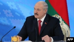 Belarus -- Belarusian President Alyaksandr Lukashenka meets with members of the public and local and foreign journalists in Minsk, February 3, 2017