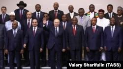 Владимир Путин с лидерами африканских государств на саммите в Сочи