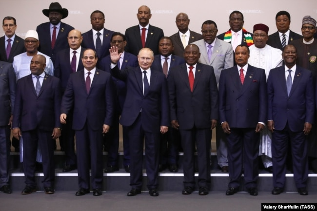 "Владимир Путин с лидерами стран континента на саммите ""Россия – Африка"". Сочи, 24 октября 2019 года"