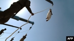 File photo of a public execution of alleged criminals in Iran.