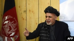 Afghan President Ashraf Ghani making a speech in Kandahar in February.