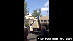 Armenia -- The truck which was used during the armed attack on Armenian police station, Yerevan, 17Jul2016