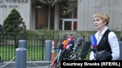 Bout's wife, Alla, speaks to the media outside Manhattan Federal Court in New York on April 5.