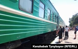 Аягөз қаласындағы темір жол станциясы. Шығыс Қазақстан облысы, 3 тамыз 2014 жыл.