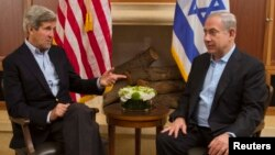 Netanyahu's (at right in a June 27 meeting with U.S. Secretary of State John Kerry) remarks appeared to be lowering expectations for the talks after Kerry's announcement that negotiations would resume after a five-year hiatus.