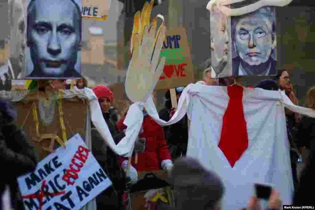 На акції в Празі, Чеська Республіка, на підтримку Маршу жінок у Вашингтоні