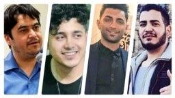 از راست: امیرحسین مرادی، سعید تمجیدی و محمد رجبی، سه معترض اعتراضهای آبان ۹۸ و روحالله زم، مسئول «آمدنیوز»