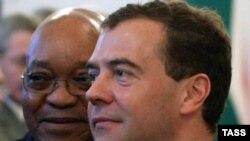 Президент ЮАР Джейкоб Зума и президент РФ Дмитрий Медведев