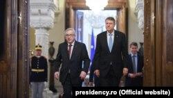 Jean-Claude Juncker și Klaus Iohannis, la palatul Cotroceni
