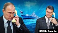 Колаж із використанням зображень Володимира Путіна та Віктора Януковича