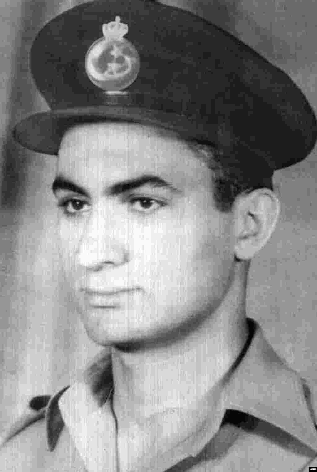 An undated photo of Mubarak as a young Royal Egyptian Air Force lieutenant.