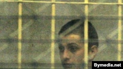 Student activist Alyaksandr Barazenka in a court in Minsk on December 8.