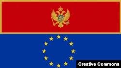 Flamuri i Malit të Zi dhe ai i Bashkimit Evropian (poshtë)