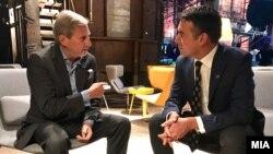 Министерот за надворешни работи Никола Димитров со еврокомесарот Јоханес Хан, на неформалниот состанок на министрите за надворешни работи на земјите-членки на Европската унија и земјите-кандидати за членство во ЕУ, Талин, 08.09.2017.