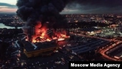 Пожар в торговом центре «Синдика». Фото агентства «Москва»