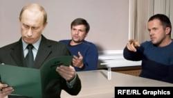 Фотоколаж. Зліва направо: президент Росії Володимир Путін та «Руслан Боширов» (Анатолій Чепіга) і «Олександр Петров» (Олександр Мішкін). Двох останніх осіб у Британії звинувачують у безпосередній участі в отруєнні ексагента ГРУ Сергія Скрипаля