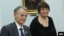 Safinar Dzhemileva with her husband, Crimean Tatar leader Mustafa Dzhemilev, in Warsaw last year.