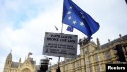 Акція проти Brexit біля будівлі парламенту Британії, Лондон, 14 січня 2019 року
