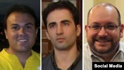 (Left to right:) Three freed Iranian-Americans who have have arrived in Germany from Tehran: Saeed Abedini, Amir Hekmati, and Jason Rezaian. A fourth Iranian-American, Nosratollah Khosravi-Roodsari, who has also released, has not yet left Tehran, senior U.S. officials said.