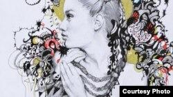 """Дело на Милена Христова, дел од ликовната изложба на цртежи од биеналниот проект """"Скици 2012"""" на академски сликари од Куманово."""