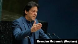 Pakistani Prime Minister Imran Khan addresses the 74th session of the United Nations General Assembly on September 27.