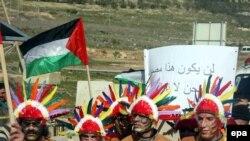 Палестинцы напомнили Райс о судьбе американских индейцев. Акция протеста в Наблусе
