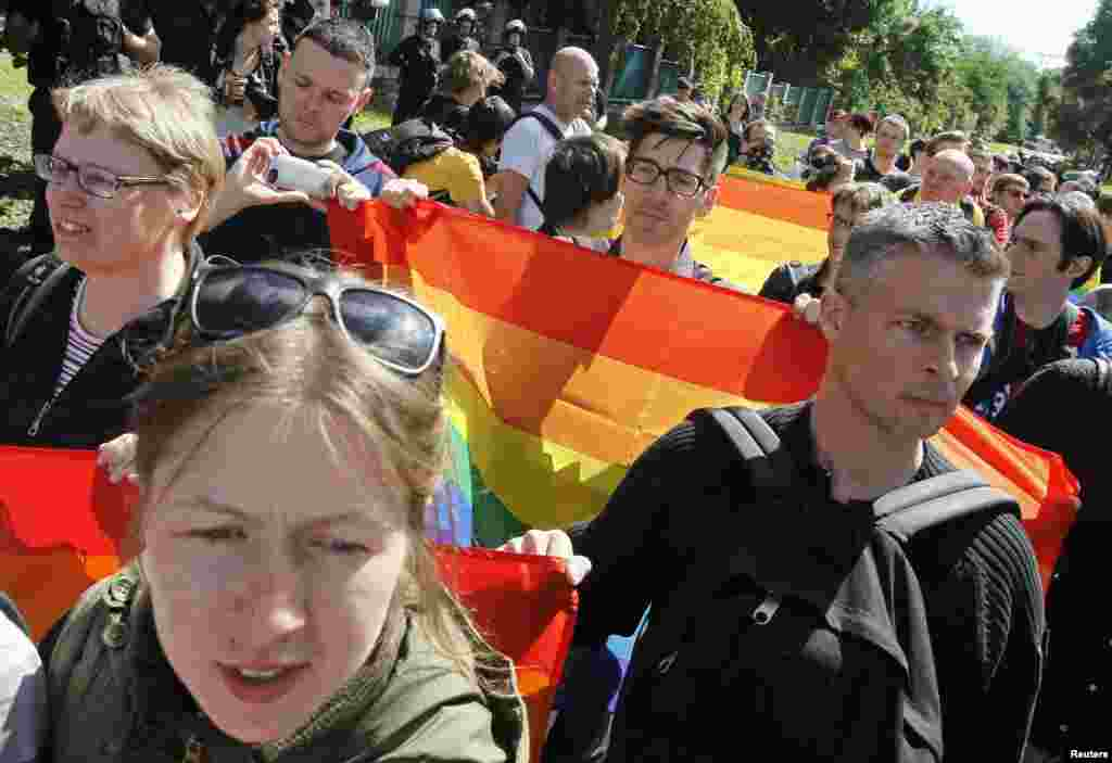 Around 50 gay-rights activists took part in the march across Kyiv.