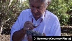 Геолог Эндрю Гликсон с поднятым с двухкилиметровой глубины фрагментом породы, частично превратившимся в стекло
