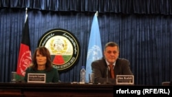 Jan Kubis Special Representative of United Nations Secretary General of Afghanistan (R) and Georgette Gagnon Director of UNAMA's Human Rights Unit. (file photo)