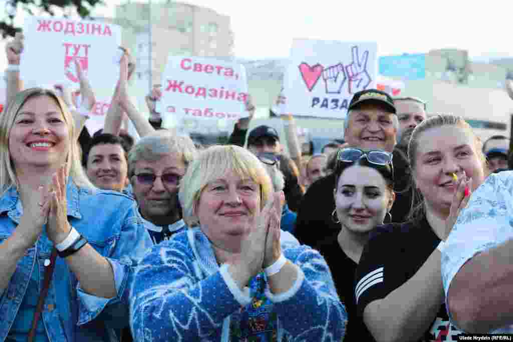 While Tsikhanouskaya's supporters were allowed to gather, hundreds of activists and bloggers have been arrested in recent months as the government cracked down hard on rallies and demonstrations.