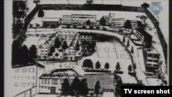 Mapa Foče prikazana tokom suđenja Ratku Mladiću, studeni 2012.