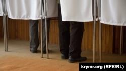 Избирательный участок в Симферопольском районе Крыма, выборы президента соседней России, 18 марта 2018 года