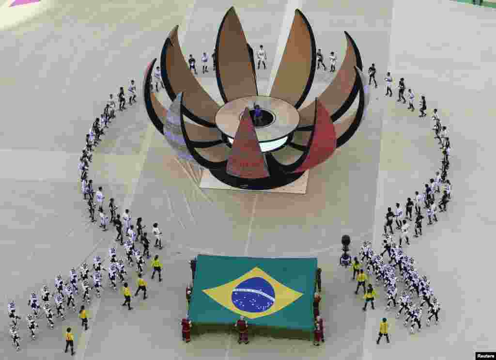 The Brazilian flag was displayed during one of the performances.