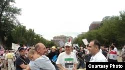 جانب من التظاهرة الاحتجاجية للجالية السورية بواشنطن