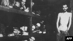 Нацистік концлагерь тұтқындарын совет әскері босатқан сәт. 27 қаңтар 1945 жыл. Көрнекі сурет