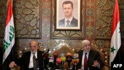Walid Muallem (djathtas) dhe Ibrahim al-Jaafari gjatë takimit të sotëm në Damask të Sirisë