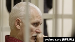 Belarusian opposition activist Ales Byalyatski at his trial in Minsk