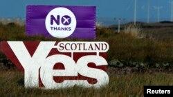 Şotlandiyada referenduma çağıran plakat.