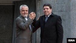 محمدرضا رحیمی معاون اول رییسجمهور ایران و وائل الحلقی نخستوزیر سوریه در تهران. ۲۷ دی ۱۳۹۱.