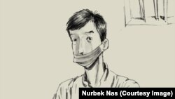 Рисунок кыргызстанского дизайнера Нурбека Насыранбекова под названием «Портрет кыргызского врача», где изображен врач Ысык-Атинского ЦСМ Бектур Апышев.