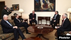 Armenia - Foreign Minister Edward Nalbandian meets with the U.S., Russian and French co-chairs of the OSCE Minsk Group, Yerevan, 17Feb2015.
