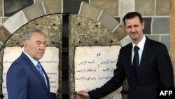 Syrian President Bashar al-Assad, right, and visiting Kazakh President Nursultan Nazarbaev in 2007.