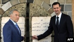 Президент Казахстана Нурсултан Назарбаев (слева) и президент Сирии Башар Асад.