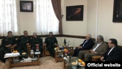 Iranian Foreign Minister, Mohammad Javad Zarif, (third from right) and his deputies met the high ranking commanders of Revolutionary Guards on Wednesday, April 10, 2019.