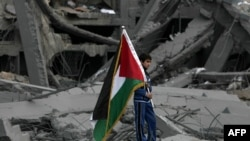 Палестина туын ұстап тұрған палестиналық бала, Газа секторы. (Көрнекі сурет).
