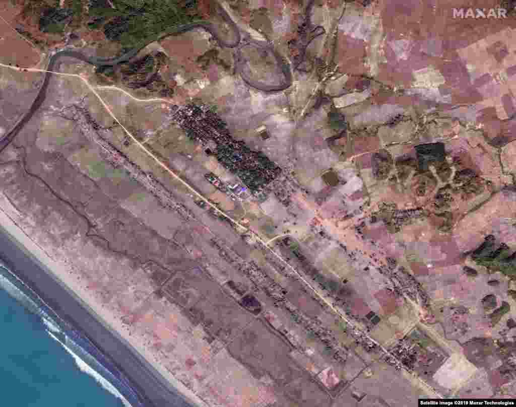 MYANMAR -- Satellite image shows the Inn Din village on November 11, 2018