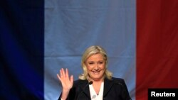 French National Front political party leader Marine Le Pen