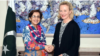 U.S. special representative Alice Wells (right) meets with Tehmina Janjua on January 18.