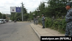 Armenia --Police forces patrol streets in Ijevan, July 19, 2019.